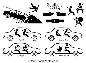 מכונית, airbag., הושב חגורה