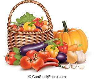 מלא, vegetables., רקע., וקטור, סל, טרי