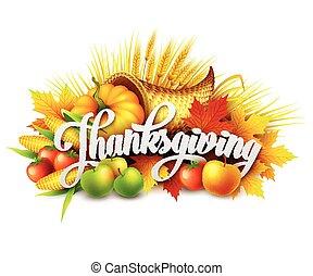 מלא, vegetables., שפע, הודיה, דוגמה, פירות, אסף