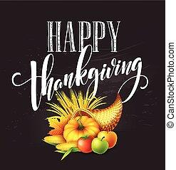 מלא, vegetables., שפע, פירות, הודיה, דוגמה, דש, סתו, וקטור, נפול, design., leaves., אסף, celebration., דלעת