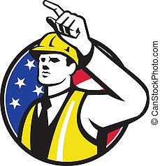 מנהל עבודה, קבע, להצביע, קבלן, עובד, בתוך, דוגמה, בניה, עשה, ראטרו, הסתובב, style., הנדס