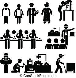 מנהל, עובד, מפעל, לעבוד