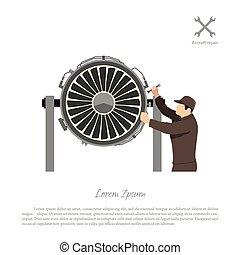 מנוע, תקן, aircraft., תחזוקה, מטוס, לתקן, הנדס