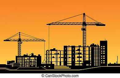 מנופים, אתר של בניה, לעבוד