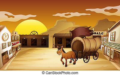 מסבאה, בחוץ, חסום, עגלה