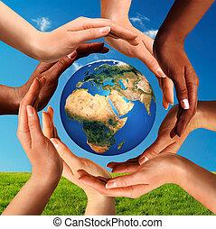 מסביב, גלובוס, ביחד, רב גזעני, ידיים, עולם