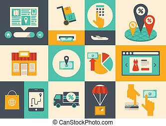 מסחר אלקטרוני, קניות אונליין, איקונים