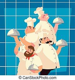 מסעדה, טבחים, אוכל, בשל, אופי, לשרת