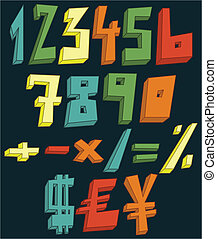 מספרים, צבעוני, 3d