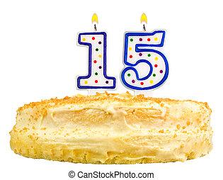 מספר, הפרד, עוגה של יום ההולדת, לבן, חמשה עשר