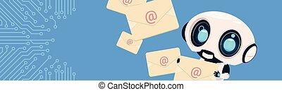 מעגל, bannner, מעל, רובוט, להחזיק, מכתבים, העתק, אופקי, רקע, bot, שלח, פסק, מעטפות, פטפט