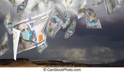 מעונן, צפה, דולר, שמיים, הסתר, לפול, סוער, 100, חשבונות