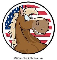 מעל, אמריקאי, סוס, צפה, הסתובב