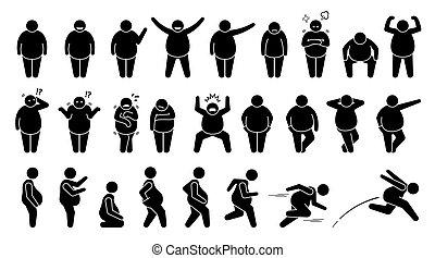 מעמדי גוף, יסודי, הבן, pictogram., איש, מניח, שומן, שוקל מדי, הדבק, אופי