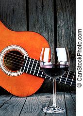 מעץ, גיטרה, יין, שולחן