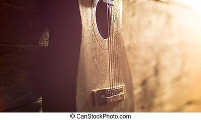 מעץ, גיטרה, קיר, לסמוך, מלוכלך, אקוסטי
