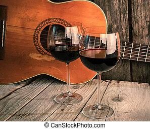 מעץ, גיטרה, *r*, יין, שולחן