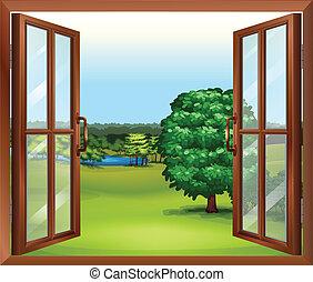 מעץ, חלון, פתוח
