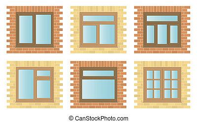 מעץ, חלונות, קבע, חוץ