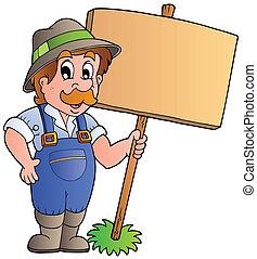מעץ, חקלאי, עלה, להחזיק, ציור היתולי