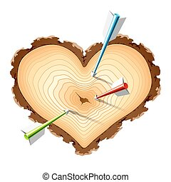 מעץ, צורה של לב, חיצים