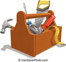 מעץ, קופסת כלים, tools., וקטור
