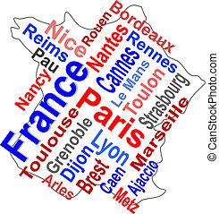 מפה, יותר גדול, צרפת, מילים, ערים, ענן