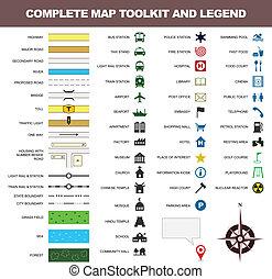 מפה, סמל, כלים, חתום, אגדה, איקון