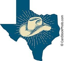 מפה, עצב, כובע, טקסס, קאובוי