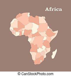 מפה, תאר, וקטור, illustration., אפריקה.