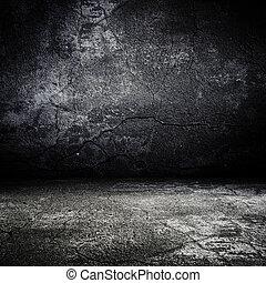 מפחיד, ישן, חדר, טקסטורה, בטון, גראנג