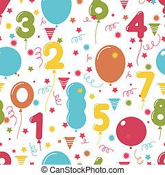 מפלגה, בלונים, תבנית, seamless, יום הולדת