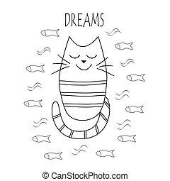 מצחיק, תאר, fish., חתול, וקטור, חולם