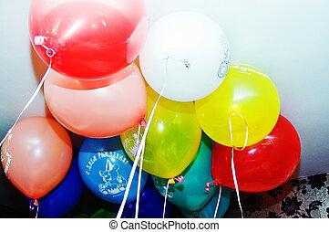 מצחיק, balloons., צבעוני