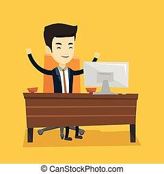 מצליח, וקטור, illustration., איש של עסק
