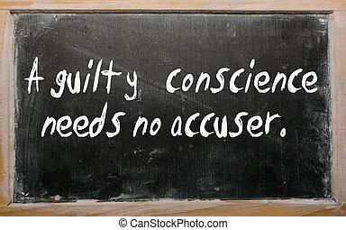 """מצפון, צריך, """"a, אין כל, אשם, accuser"""", כתוב, לוח"""