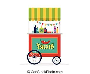 מקסיקני, פוסטר, אוכל, טייס, רחוב, רקע, עגלה, דגל
