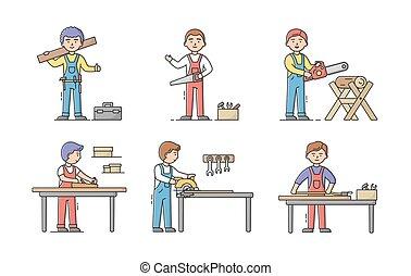 מקצוע, בניה, תאר, קבע, עמול, ציור היתולי, מדים, כלים, עובדים, וקטור, דירה, שלהם, יום, team., ליניארי, הצטרף, concept., דוגמה, עבודה, נגרים, workplaces., מקצועי