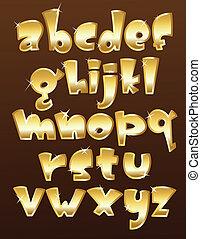 מקרה, אלפבית, יותר נמוך, זהב