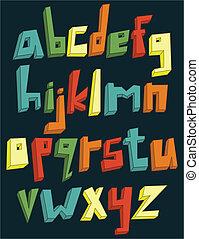 מקרה, אלפבית, יותר נמוך, צבעוני, 3d