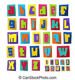 מקרה, יותר נמוך, חתוך, מכתבים, צבעוני, פונט, חדש