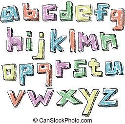 מקרה, יותר נמוך, צבעוני, אלפבית, העבר, sketchy, צייר