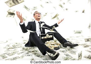 מקרה, מלא, לשבת, לזרוק, כסף, rich!, צעיר, פורמאלוואיר, , מטבע, בזמן, נייר, איש עסקים, שמח