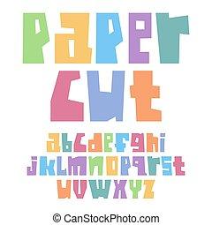 מקרה, פסטל, יותר נמוך, חתוך, צבעים, נייר, פונט