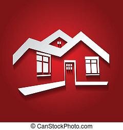 מקרקעין, דיר, סמל, מודרני, צללית, וקטור, נדלן, איקון, לוגו, בית