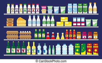 מרכול, אוכל, drinks., מדפים