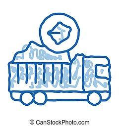 משאית, איקון, שרבט, צייר, פחם, דוגמה, העבר