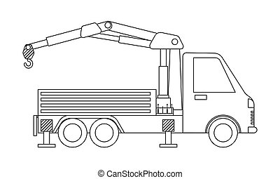 משאית, הפרד, page., רקע., תאר, לבן, מנוף, לצבוע