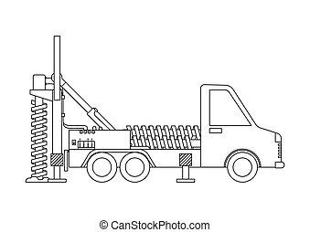 משאית, הפרד, page., רקע., תאר, לקדוח, לבן, לצבוע