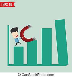 משוך, השתמש, eps10, עסק, גרף, -, דוגמה, מגנט, וקטור, איש